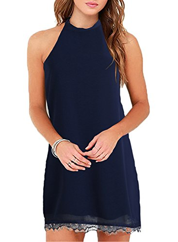 Fantaist Women's Summer Halter Backless Lace Cocktail Dresses for Wedding Guest (M, FT610-Navy Blue)