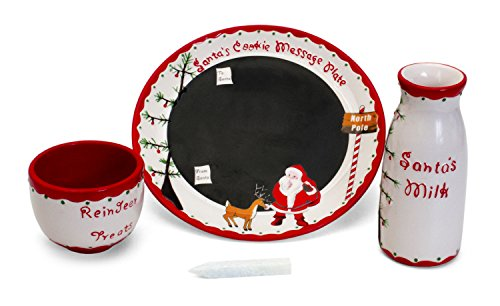 (Child to Cherish Santa's Message Plate Set, Santa cookie plate, Santa milk jar, and reindeer treat)