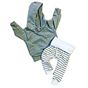 Newborn Baby Boys Warm Hoodie T-Shirt Top + Striped Pants Outfits Set Kids Clothes (3-6 Months, Gray)