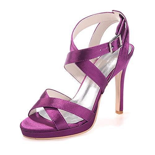 Shoes da Tacchi Scarpe viola Scarpe cinturini incrociati Toe sposa Sandali tacco alto Scarpe con alti Zxstz Peep Womens da lavoro festa da qI7Wwpxt8