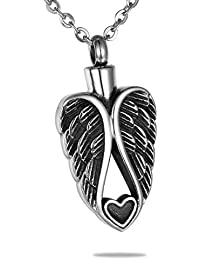 Cremation Jewlery Heart Angel Wings Pendant Memorial Urn Necklace