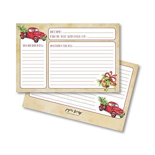 Paper Frenzy Nostalgic Red Truck with Tree Holiday Recipe Cards - Pack of 25 Double Sided