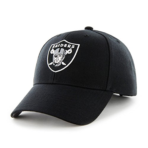 Oakland Raiders Hat NFL Authentic 47 Brand MVP Adjustable Velcroback Black Football Cap Adult One Size Men & Women 85% Acrylic,15% Wool - Mvp Cap
