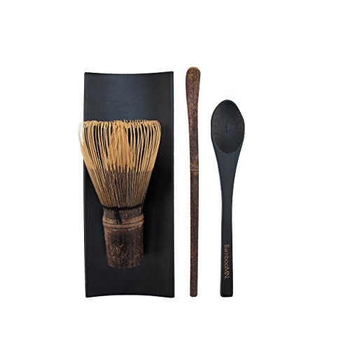 BambooMN Matcha Whisk Set - Black Chasen (Tea Whisk), Black Tray, Black Chashaku (Hooked Bamboo Scoop), Black Tea Spoon - 1 (Black Whisk)