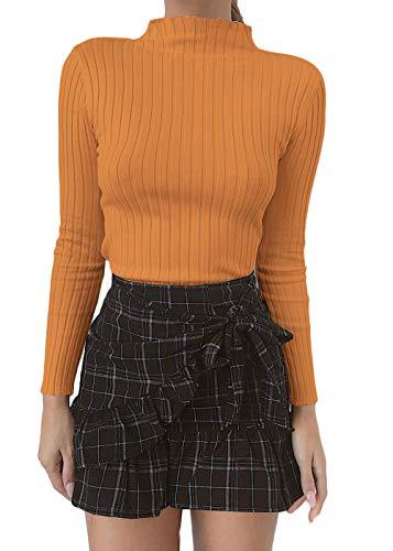 Belypoe Women's Turtleneck Long Sleeve Ribbed Knitwear Bodycon Blouse Yellow M (Turtleneck Wide Ribbed)