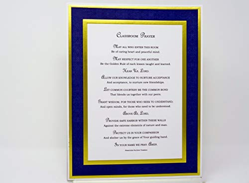 Classroom Prayer Wall Print Teacher Gift UnFramed 8.5x11 with Double Golden Foil Border by WriteWords By RosaLinda