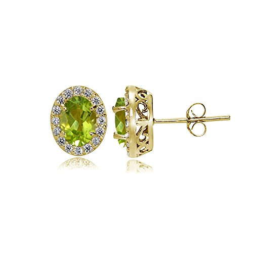 Bezel Peridot Stud Earrings (Yellow Gold Flashed Sterling Silver Peridot and Cubic Zirconia Accents Oval Halo Stud Earrings)