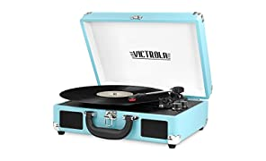 Innovative Technology VSC-550BT-TQ Victrola Vintage 3-Speed Bluetooth Suitcase Turntable with Speakers, Turquoise