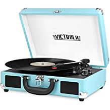 Victrola Vintage 3-Speed Bluetooth Suitcase Turntable with Speakers, Turquoise