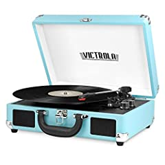 Victrola Vintage 3-Speed Bluetooth Suitcase Turntable with Speakers, Turquoise. Clean only with a dry cloth