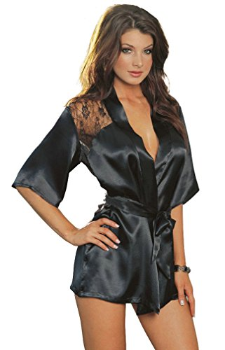 AMiERY Women's Sexy Black Lace Silk Kimono Robes Peacock Short Stain Nightgowns (M, Black) (Womens Short Silk Nightgowns)