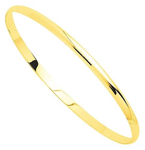 Orleo - REF7501BB : Bracelet rigide Femme Or 18K jaune - Demi-Jonc Massif 63 mm x 3 mm