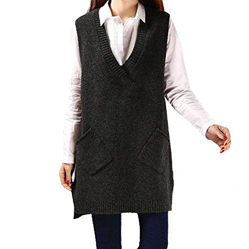 Evelin LEE Womens Fashion V Neck Sleeveless Knitted Long Sweater Vest Showomen (Dark Gray)