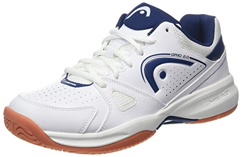 HEAD Men's Grid 2.0 Low Racquetball/Squash Indoor Court Shoes (Non-Marking) (White/Navy) 9.0 (D) US