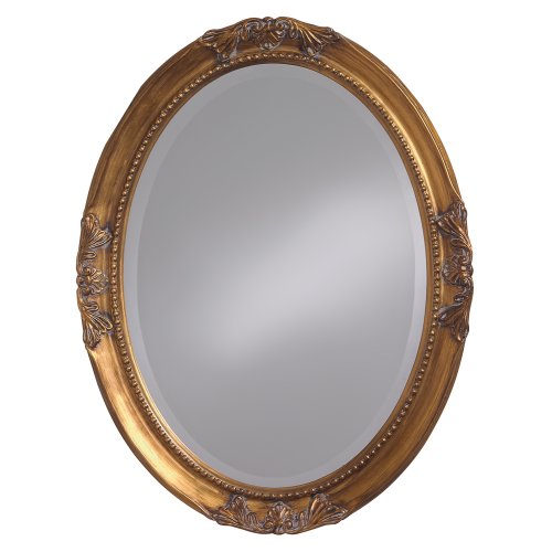 Howard Elliott Queen Ann Oval Hanging Wall Mirror, Beveled, Vanity, Antique Gold -