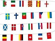 globalqi European Football Championship Bunting - Nation Flags All 24 Participating Teams Flags International