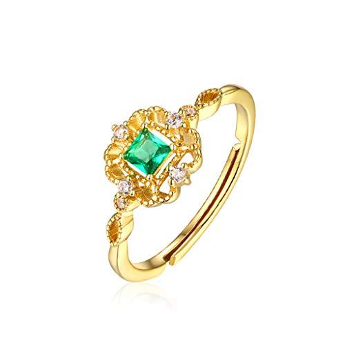 Women's Ring S925 Sterling Silver Green Zircon Ring, Light Luxury, Vintage Jewelry, Chinese Nano Gold Plated Jewelry (Garnet Nickel Three Light)