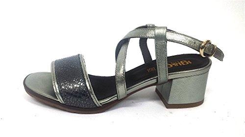 5821 ALLUMINIO Scarpa donna sandalo tacco basso Igi&Co pelle alluminio