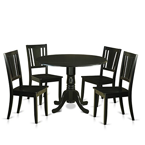 East West Furniture DLDU5-BLK-W 5 Piece Small Kitchen Table and 4 Dining Room Chairs Set for 4 People