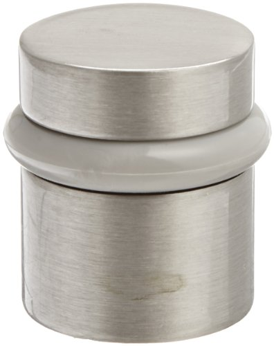 Rockwood 446.15 Brass Modern Style Universal Door Stop, #12 X 1-1/2'' WS Fastener with Plastic Anchor and 12-24 x 1'' FH MS Fastener with Lead Anchor, 1-1/4'' Base Diameter, 1-1/2'' Height, Satin Nickel Plated Clear Coated Finish by Rockwood