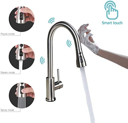 LE RUI Touch Kitchen FaucetsPull Down Sprayer Kitchen Sink FaucetPull Out Sprayer Single Handle 304 Stainless Steel Kitchen Faucet With 3 Setting modes.Brushed Nickel.