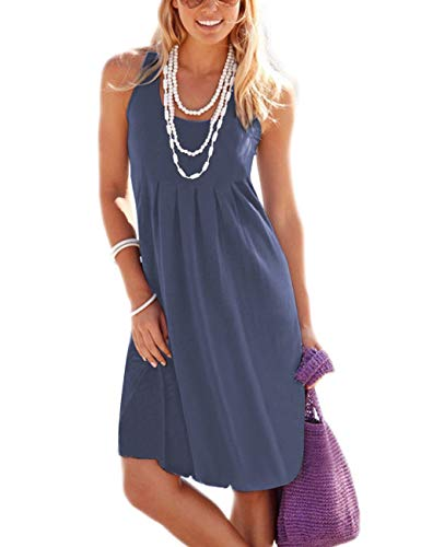 Traleubie Women's Casual Summer Tank Sleeveless Knee Length Vest Pleated Sun Dresses Purple Grey M