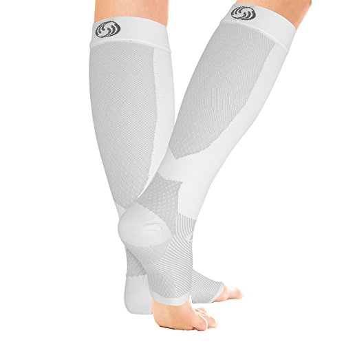 OrthoSleeve FS6+ Compression Foot and Calf Sleeve (Pair), White, Small