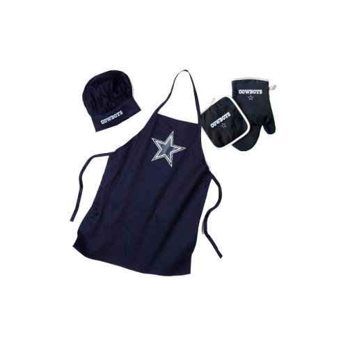 Pro Specialties Group NFL Dallas Cowboys Team Logo Barbeque Apron, Chef's Hat and Pot Holder Deluxe - Logo Apron Bbq