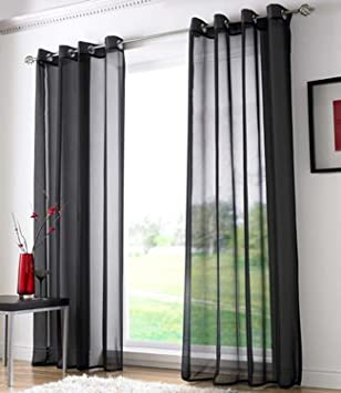Voile Ring Top Eyelet Curtain Panel Black 108