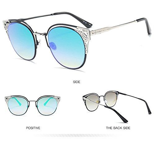 Metal Blue Patrón Moda Salvajes Gafas La del Sol Pintadas Brass De Sol Gafas De De nSqX61XHw