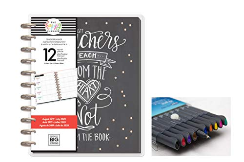 eate 365 The Happy Planner Big Teacher: Teach from The Heart 12 Month Planner, Aug 2019 - July 2020 Comes with Kemah Craft 10 pc Fineliner Color Pens (PLNA-26) ()