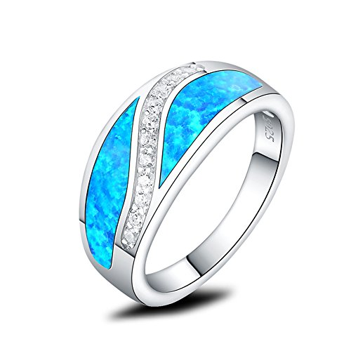 Mozume Created Black Opal Ring Promise Infinity Channel 925 Sterling Silver Half Eternity (8)
