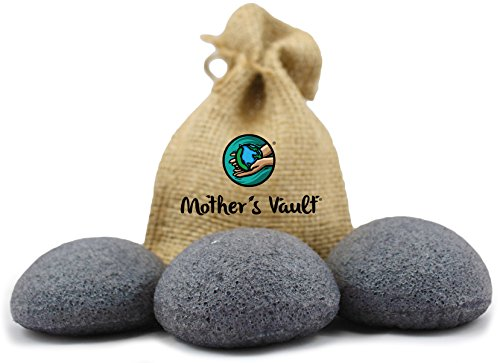 Organic Exfoliating Charcoal Premium Konjac Sponges By Mother's Vault - All Natural Beauty Supply Prevents Breakouts While Exfoliating & Toning for a Better Complexion + Charity Donation