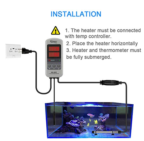 Hygger Submersible Tank Heater, 200W