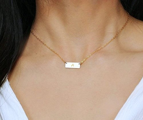 f233991986abd Small 14K Gold Fill Bar Necklace, Personalized Minimal Rectangle Initial  Pendant Necklace, Tiny Name Plate Bar Jewelry 14K Rose Gold Fill or 925 ...