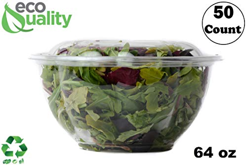 Rice Rose Bowl - 64oz Salad Bowls To-Go with Lids (50 Count) - Clear Plastic Disposable Salad Containers | Airtight, Lunch, Salads, Parfait, Fruits, Leak Proof, Airtight, Fresh, Meal Prep | Rose Bowl Container (64oz)
