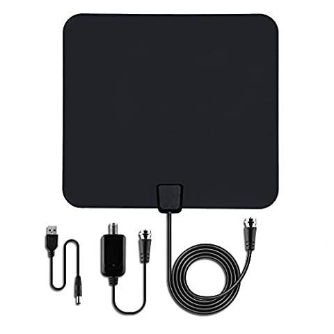 TV Antenna 50 Miles Range Indoor Digital HDTV Antenna with Detachable Amplifier Signal Booster + 16.5ft Coaxial Cable