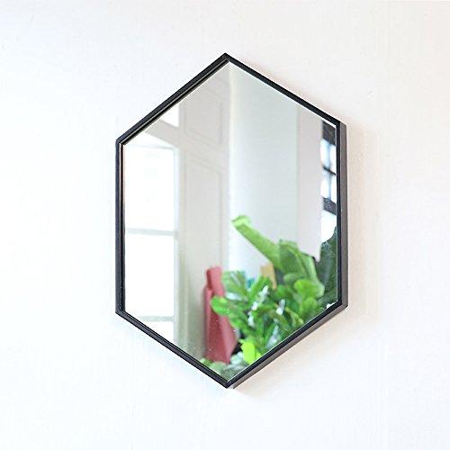 Mirror European minimalist wrought iron wall bathroom bathroom fashion makeup (Color : Black, Size : 4060cm) from Mirror