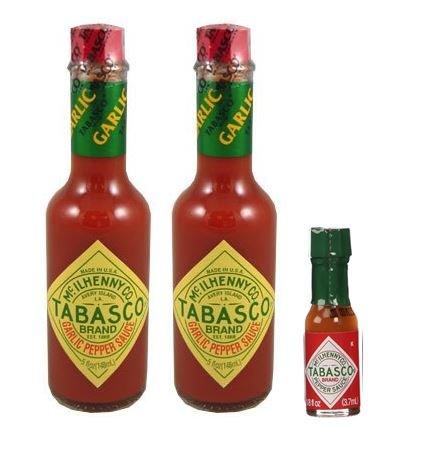 Pepper Sauce Mini - Tabasco Sauce Pepper Garlic 5 oz (Pack of 2) & 25 Original Mini Tabasco 1/8 oz bottles