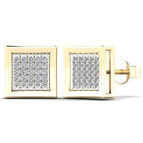 JewelAngel 14K Yellow Gold 1/10ct TDW Diamond Square Stud Earrings (H-I, I1-I2)