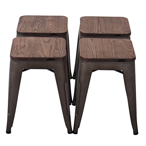 Changjie Furniture 18 Inch Backless Metal Bar Stool Kitchen Counter Bar Stools Set of 4 18 inch, Bronze with Wood seat