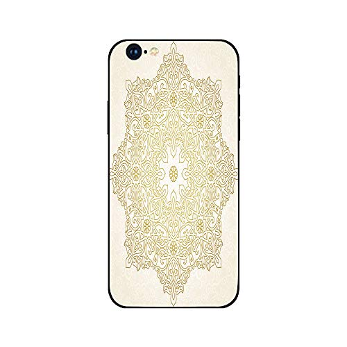 Phone Case Compatible with iphone6 iphone6s mobile phone covers phone shell Brandnew Tempered Glass Backplane,Gold Mandala,Antique Lace Pattern Blooming Asian Garden Theme Filigree Style Traditional D