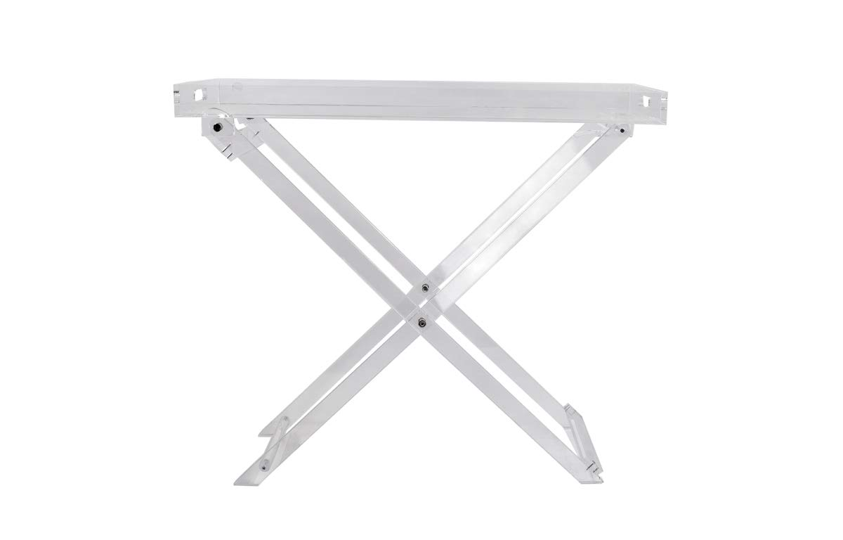 Acrylic Folding Tray Table Modern Chic Accent Desk – Kitchen and Bar Serving Table – Elegant Clear Design – by Designstyles