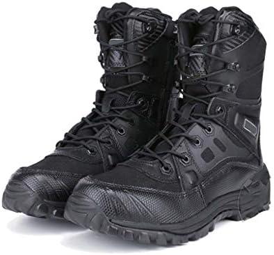 男ハイヒールのアサルトブーツのための戦術的なブーツは、屋外の森林のための通気性、耐久性耐摩耗ジッパースタイルナイロンラバーソール滑り止めをひもで締めます (色 : 黒, サイズ : 24.5 CM)