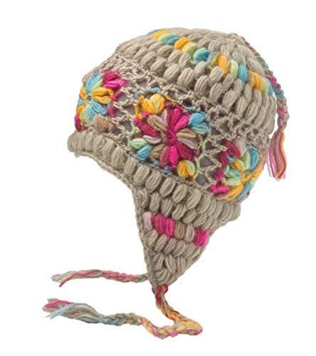 - Hand Knit Unisex WOOL Beanie Hat Ear Flap Fleece Lined from Nepal (Tan with Flowers)