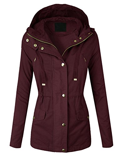 makeitmint Women's Zip Up Military Anorak Jacket w/ Hood [S-3XL] Large YJH0018_BURGUNDY