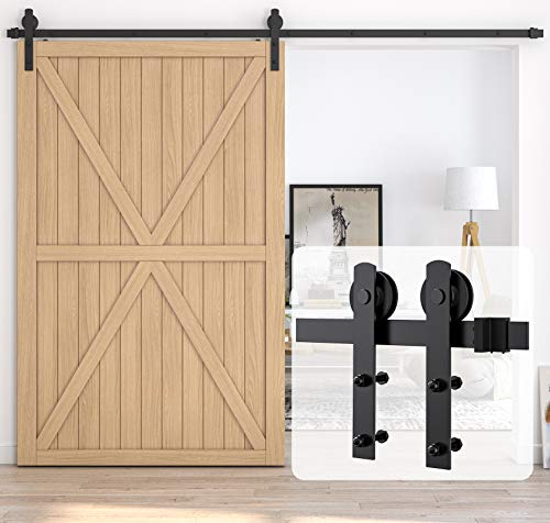 HomLux-13ft-Heavy-Duty-Sturdy-Sliding-Barn-Door-Hardware-Kit-Single-Door-Smoothly-and-Quietly-Easy-to-Install-and-Reusable-Fit-1-38-1-34-Thickness-78-Wide-Door-Panel-BlackI-Shape-Hanger