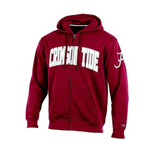 NCAA Alabama Tide Adult Men Full Zip Hooded Fleece, Small, Crimson (Ncaa Alabama Fleece Hoodie)