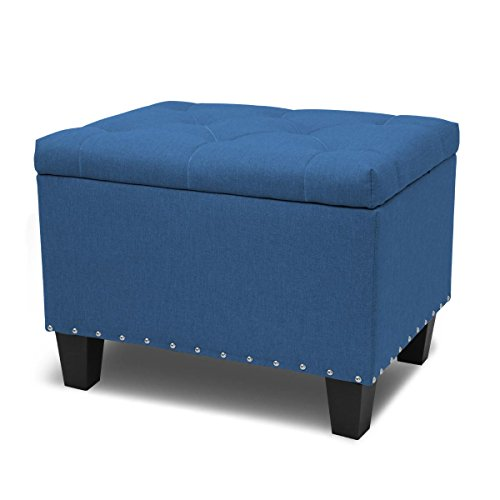 - Magshion Rectangular Storage Ottoman Bench Tufted Footrest Lift Top Pouffe Ottoman, Coffee Table, Seat, Foot Rest, and More (24'', Linen Navy Blue)