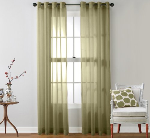 HLC.ME 2 Piece Sheer Window Curtain Grommet Panels (Sage) Each Panel measures 54
